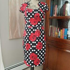 Roses and polka dot pinup pencil dress